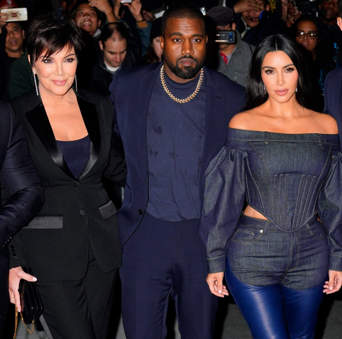 Kris Jenner, Kanye West, and Kim Kardashian West attending an event in New York City