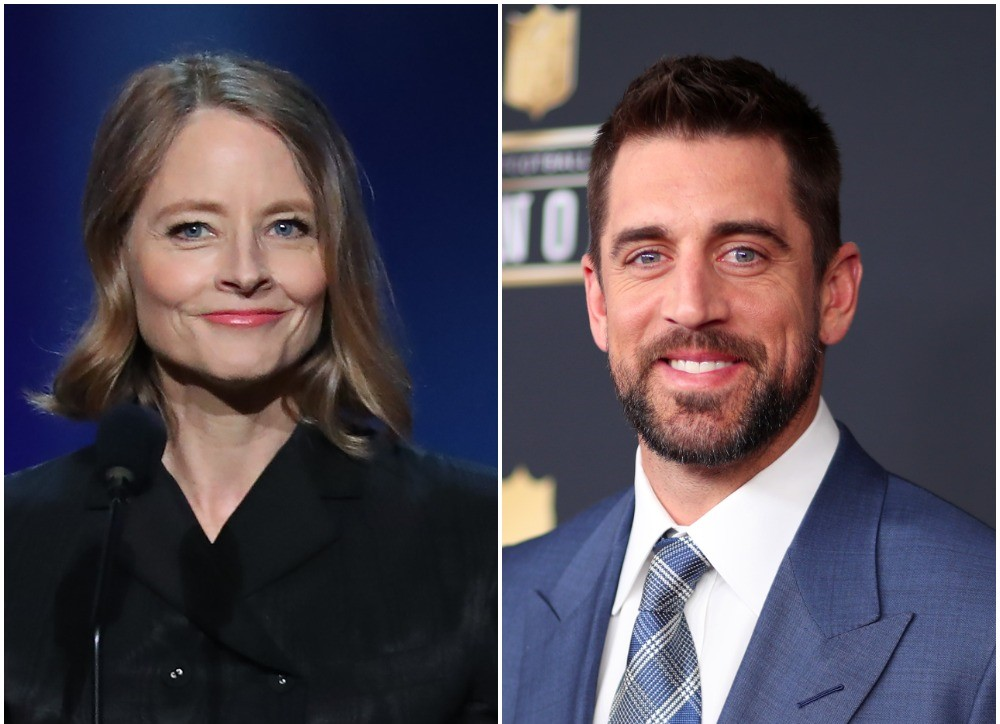 (L) Jodie Foster onstage at American Film Institute Life Achievement Award Gala, (R) Aaron Rodgers on red carpet for NFL honors