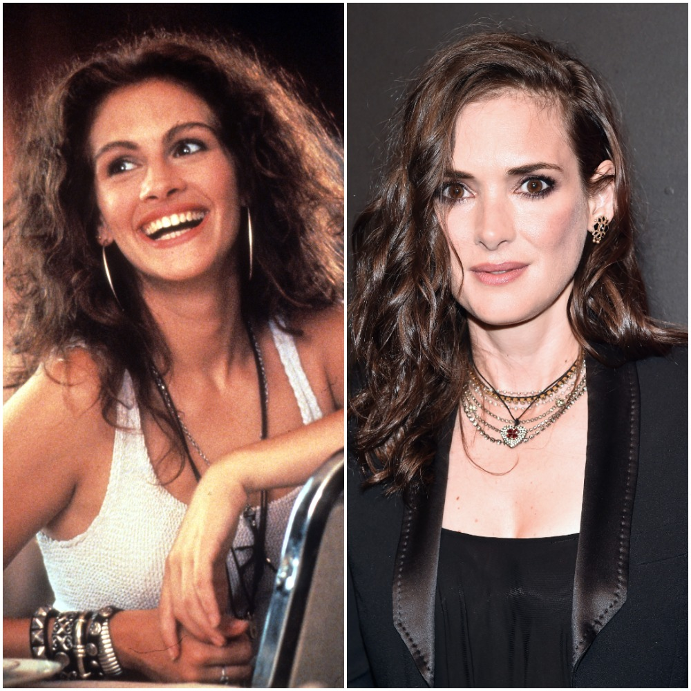 (L) Julia Roberts pictured in white tank top and smiling during Pretty Woman scene (R) Actor Winona Ryder dressed in black at premiere for Stranger Things