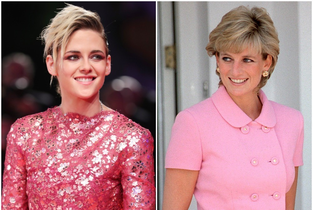 (L): Kristen Stewart in a shimmering gown on the red carpet at the Venice Film Festival, (R): Princess Diana Princess Diana dressed in pink suit in Argentina
