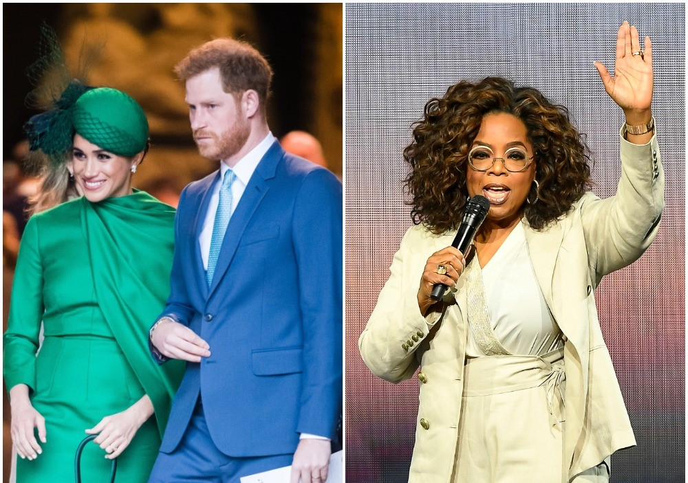 (L) Meghan Markle and Prince Harry leave church after final royal engagement, (R) Oprah Winfrey speaking to crowd during her 2020 Vision Your Life in Focus Tour