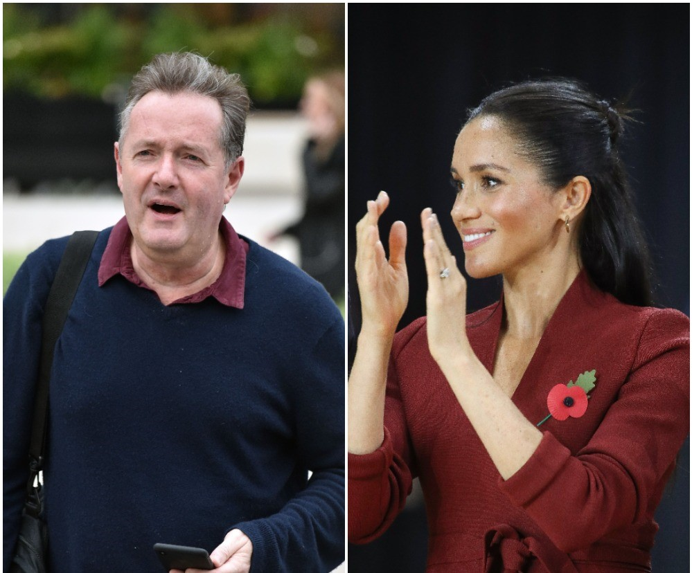 (L) Piers Morgan dressed down and walking outside the ITV Studios, (R) Meghan Markle photographed wearing maroon dress while applauding teams during Invictus Games in Sydney