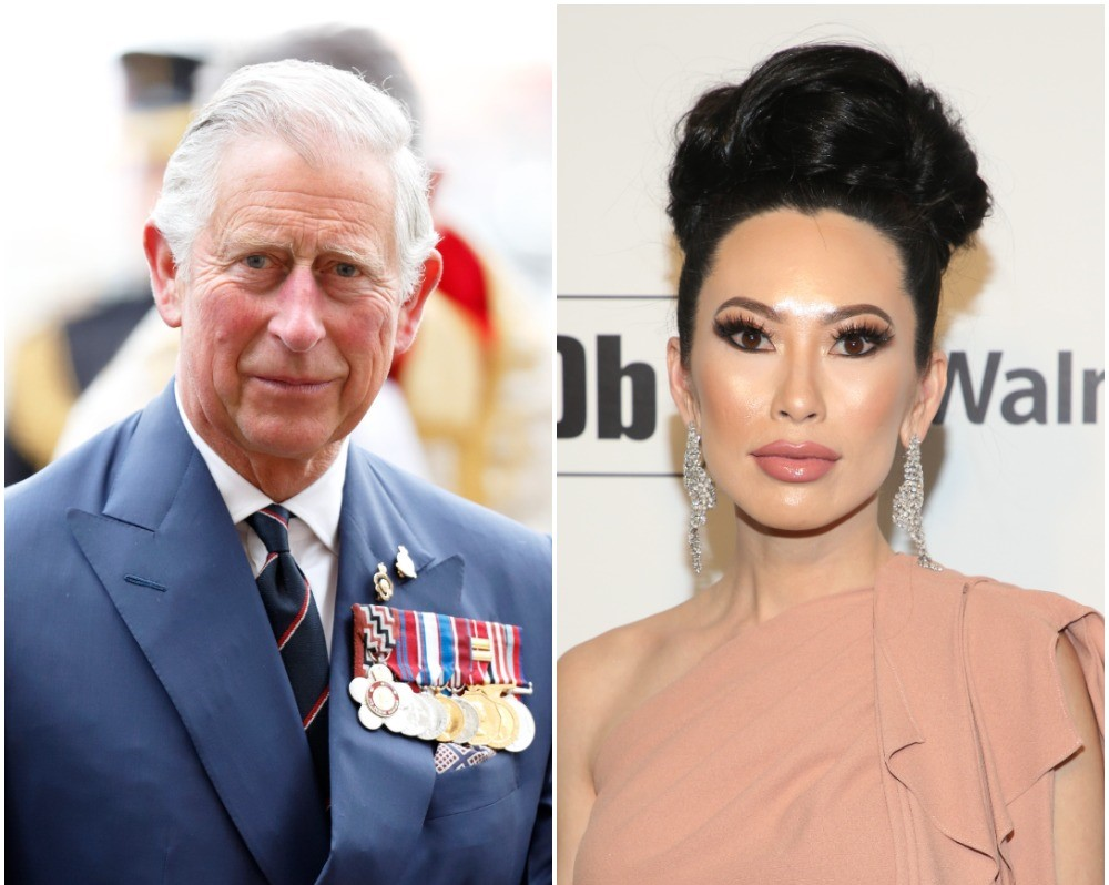 (L) Prince Charles Prince Charles attends a Service of Thanksgiving to mark the Anniversary of VE Day, (R) Christine Chiu on the red carpet at the 28th Annual Elton John AIDS Foundation Academy Awards Viewing Party