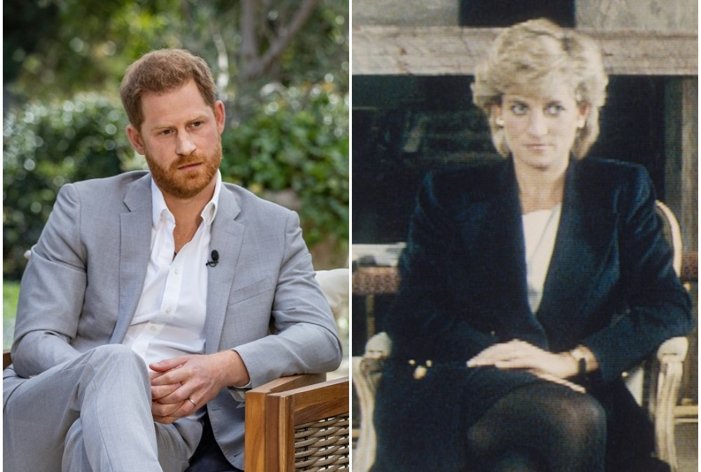(L) Prince during CBS interview, (R) Princess Diana during BBC interview