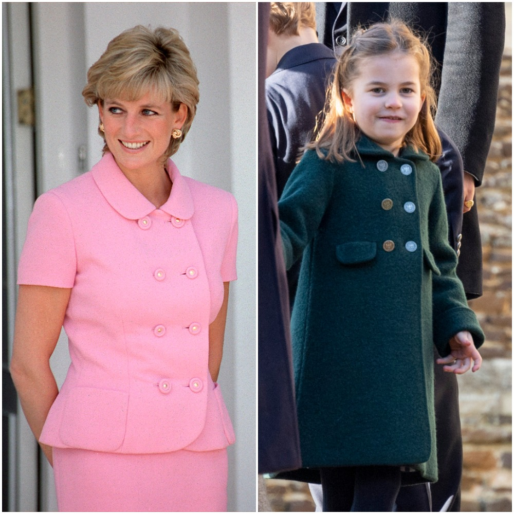 (L): Princess Diana dressed in a pink outfit in Argentina, (R): Princess Charlotte in a green coat and smiling as she attends church on Christmas Day with her familye