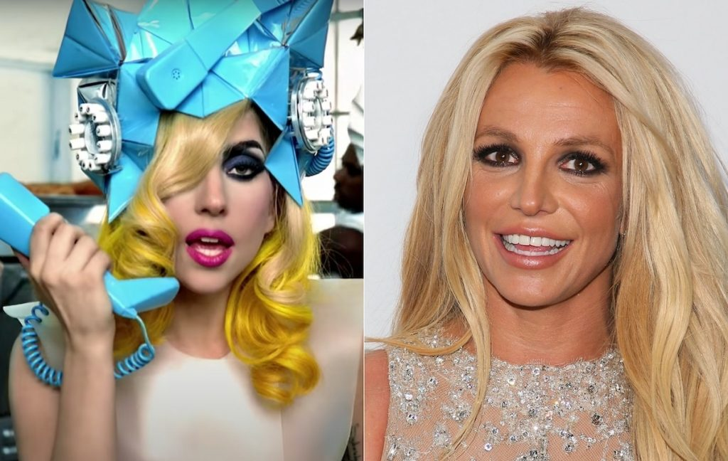 Lady Gaga in a blue headdress and white dress in the 'Telephone' music video (L), and Britney Spears smiling in a sparkling silver dress (R) | YouTube/JB Lacroix/WireImage