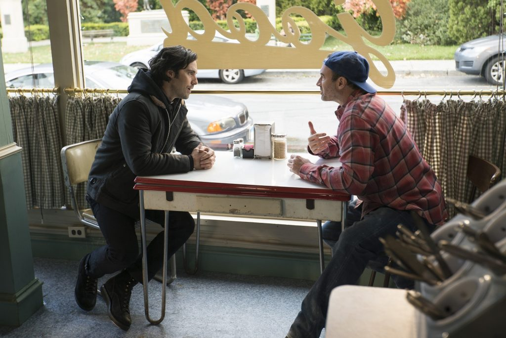 Jess Mariano and Luke Danes sit in the window of Luke's Diner in 'Gilmore Girls: A Year in the Life' Jess Mariano and Luke Danes in 'Gilmore Girls: A Year in the Life'