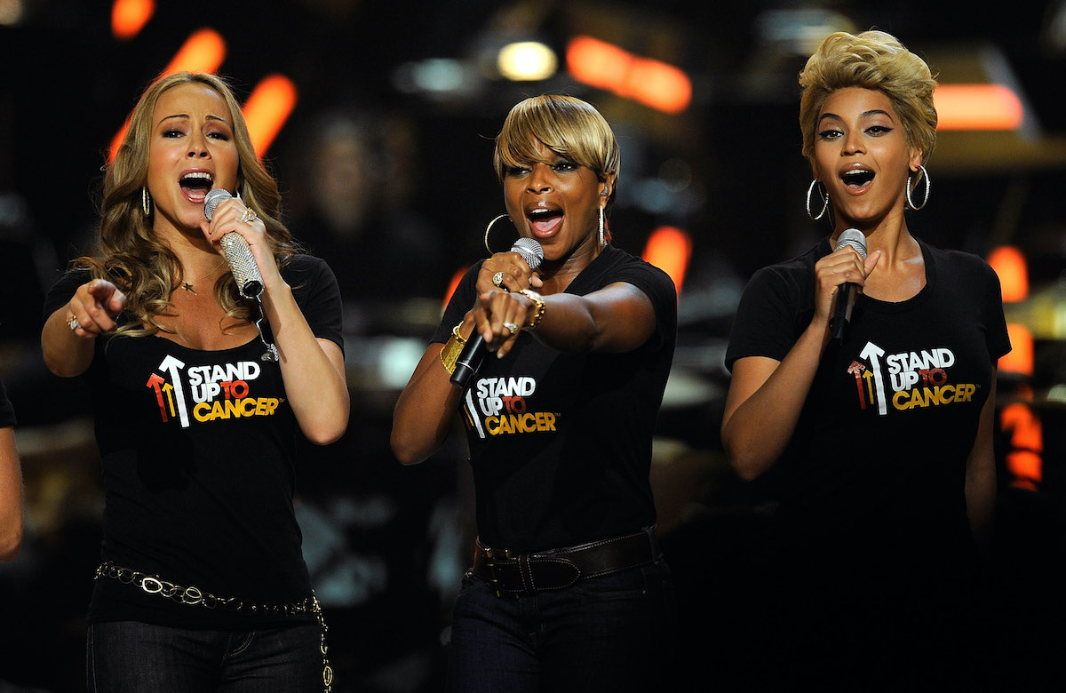 Mariah Carey, Mary J. Blige, and Beyoncé at Fashion Rocks in 2008