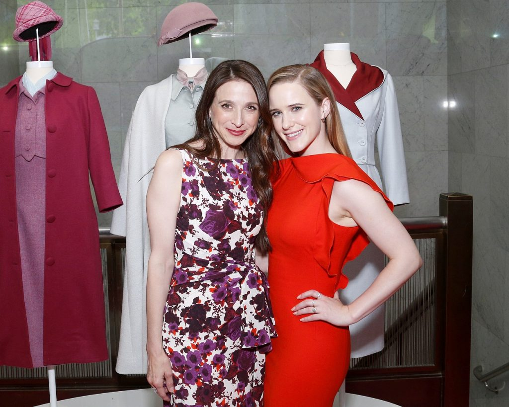 The Marvelous Mrs. Maisel Season 4 cast members Marin Hinkle and Rachel Brosnahan pose at a promo for the show