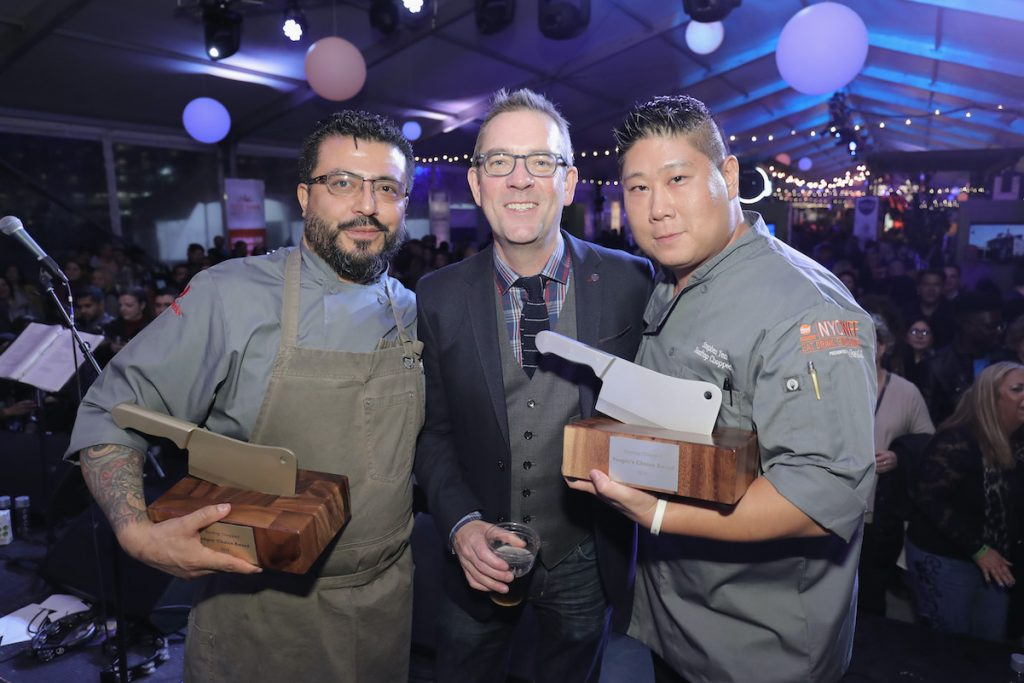 Food Network's 'Chopped' host Ted Allen with winners Mario Hernandez (left) and Stephen Yen
