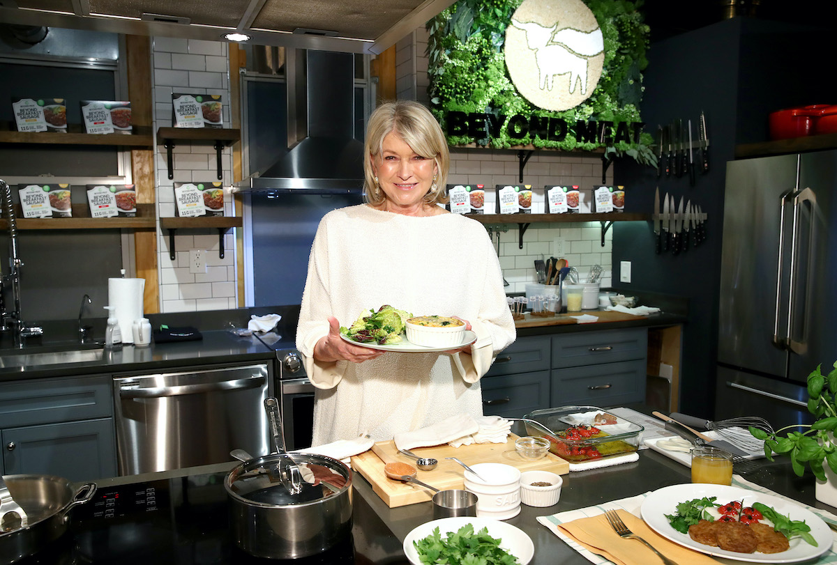 Martha Stewart prepares a frittata in New York City