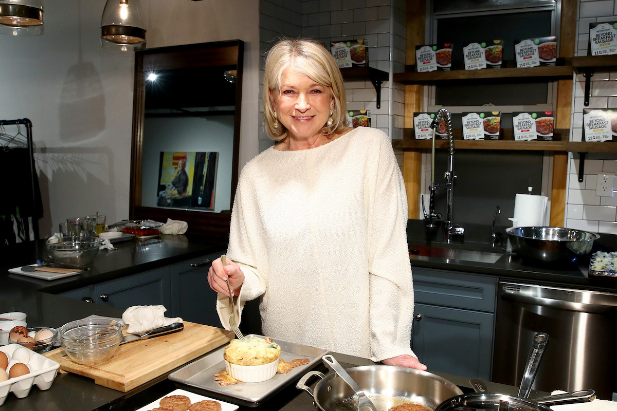 Martha Stewart prepares the Classic Beyond Breakfast Sausage with Spinach and Sweet Onion Frittata on March 10, 2020 in New York City