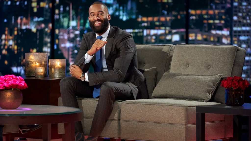 Matt James with a beard on 'The Bachelor' Season 25 'Women Tell All' special in 2021.