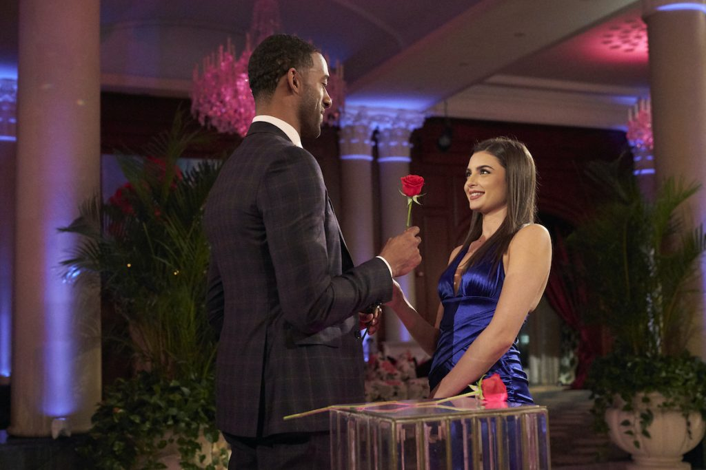 Matt James and Rachael Kirkconnell during a rose ceremony on 'The Bachelor'