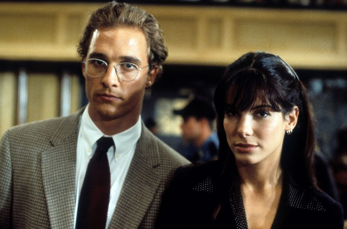 Matthew McConaughey and Sandra Bullock in the courtroom in A Time to Kill