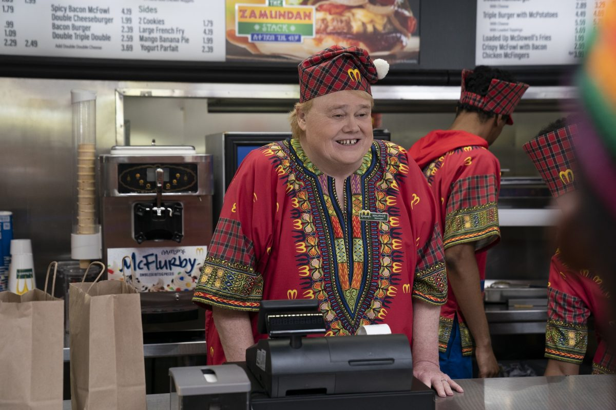 McDowell's employee Louie Anderson at the register