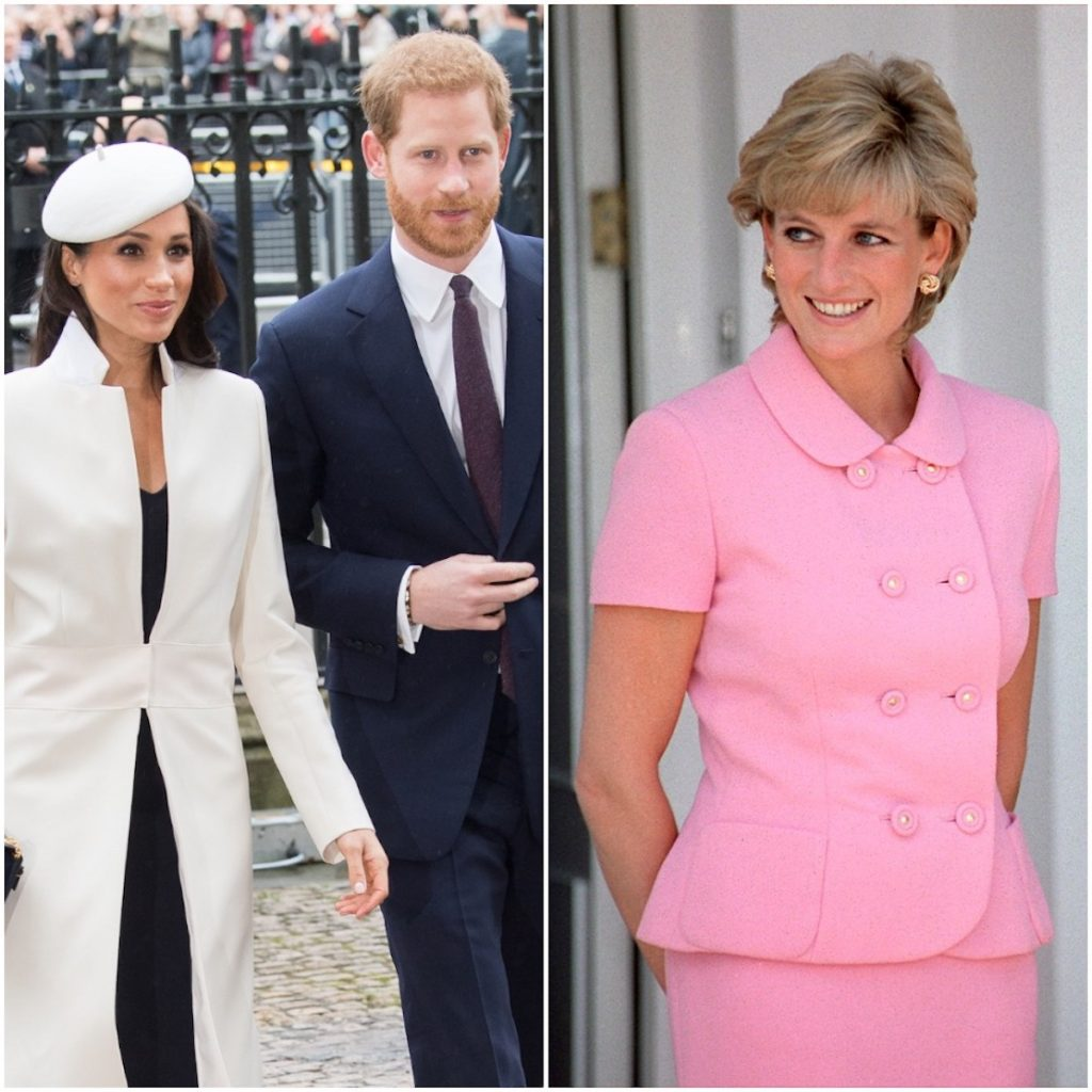 (L-R) Meghan Markle and Prince Harry arrive at the 2018 Commonwealth Day service; Princess Diana smiles as she poses for photographers in Argentina