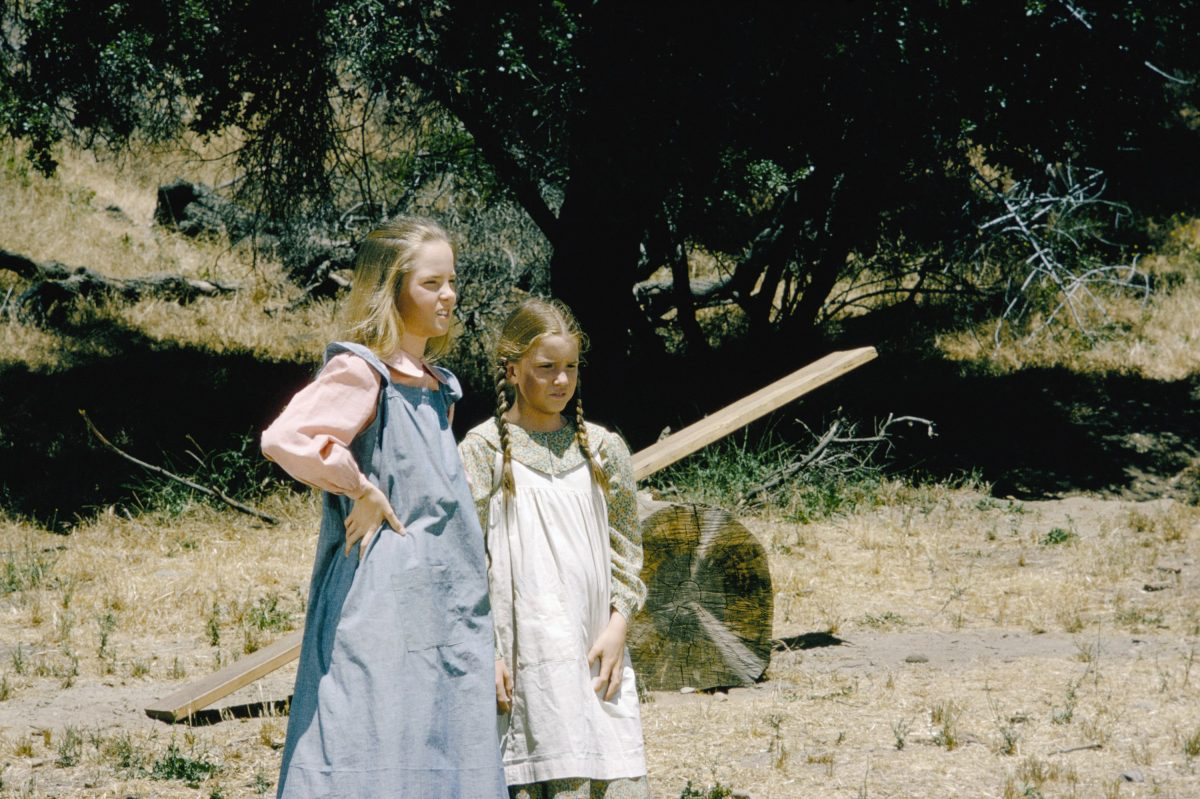Melissa Sue Anderson and Melissa Gilbert on location shooting 'Little House on the Prairie'