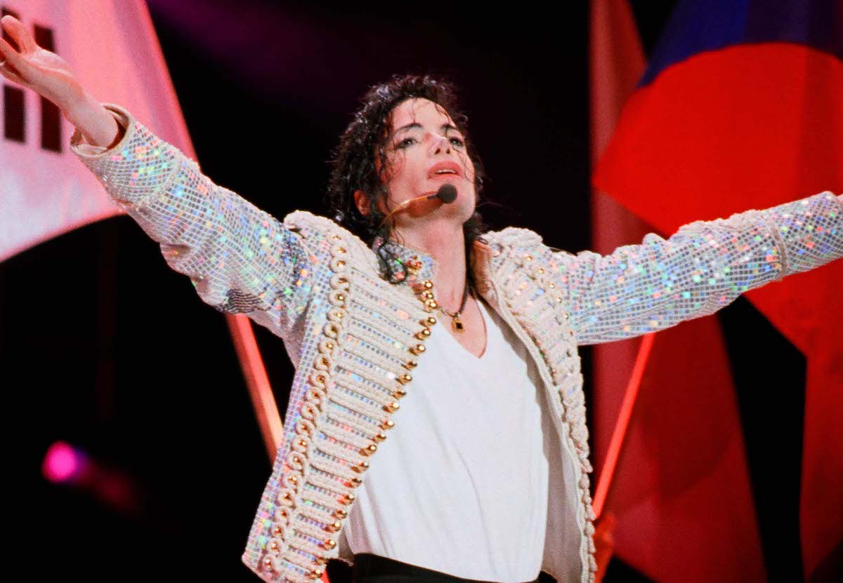 Michael Jackson performs on stage on his HIStory tour