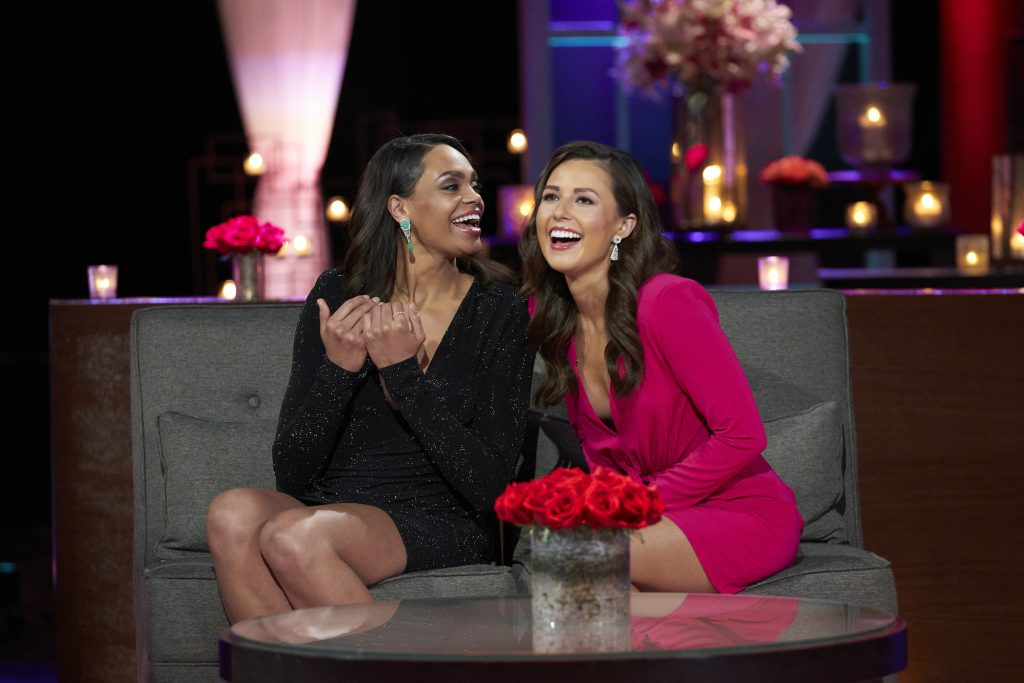Michelle Young and Katie Thurston sitting together and laughing as they are announced as the next leads of 'The Bachelorette' on 'After the Final Rose'
