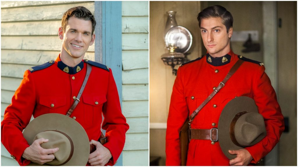 Side by side photo of Natan and Jack from When Calls the Heart, both wearing Mountie uniform
