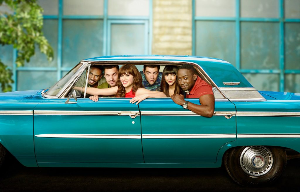 Damon Wayans, Jr., Jake Johnson, Zooey Deschanel, Max Greenfield, Hannah Simone, and Lamorne Morris appear in promotional photos for 'New Girl'