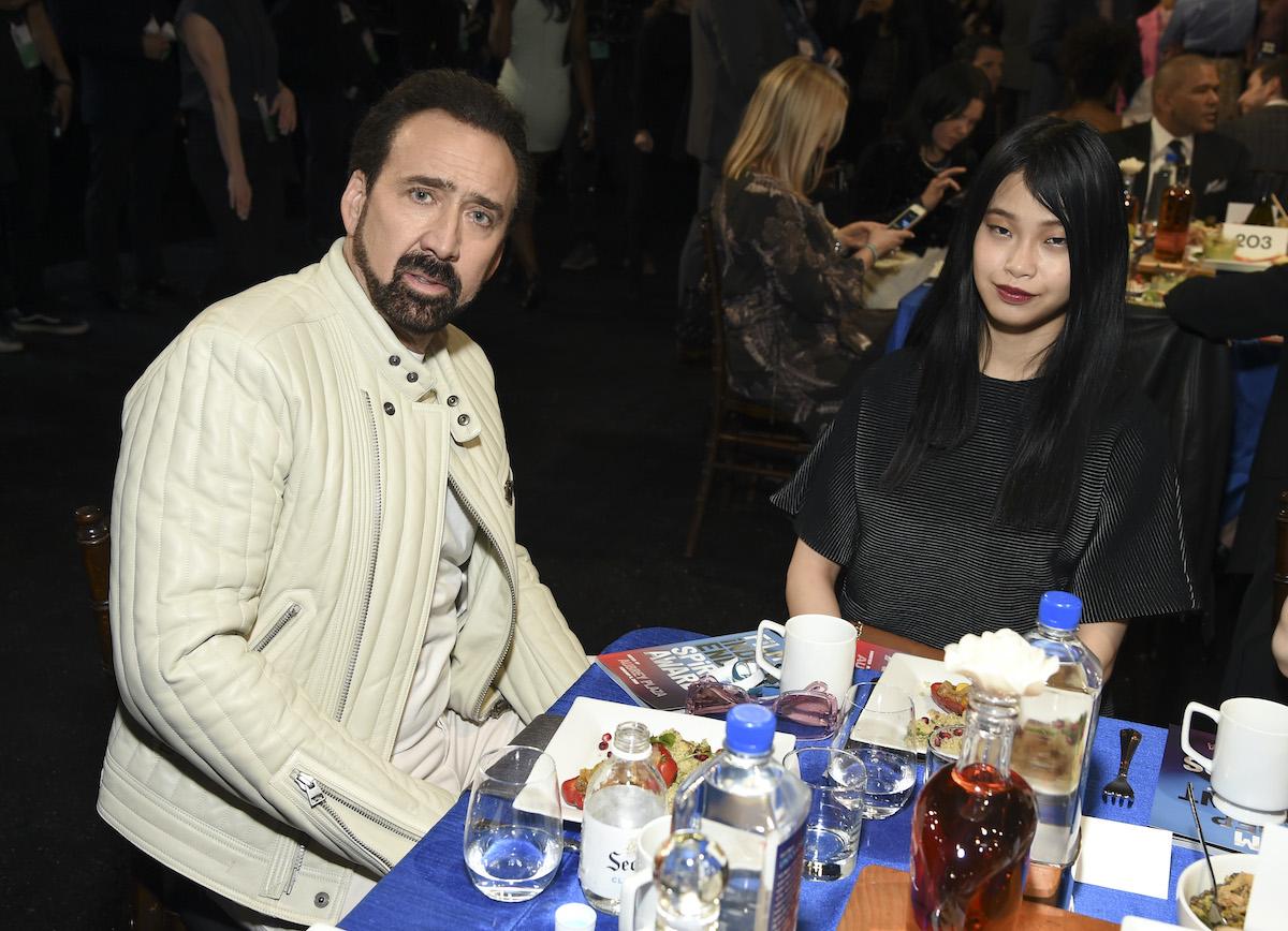 Nicolas Cage and Riko Shibata at the 2020 Film Independent Spirit Awards