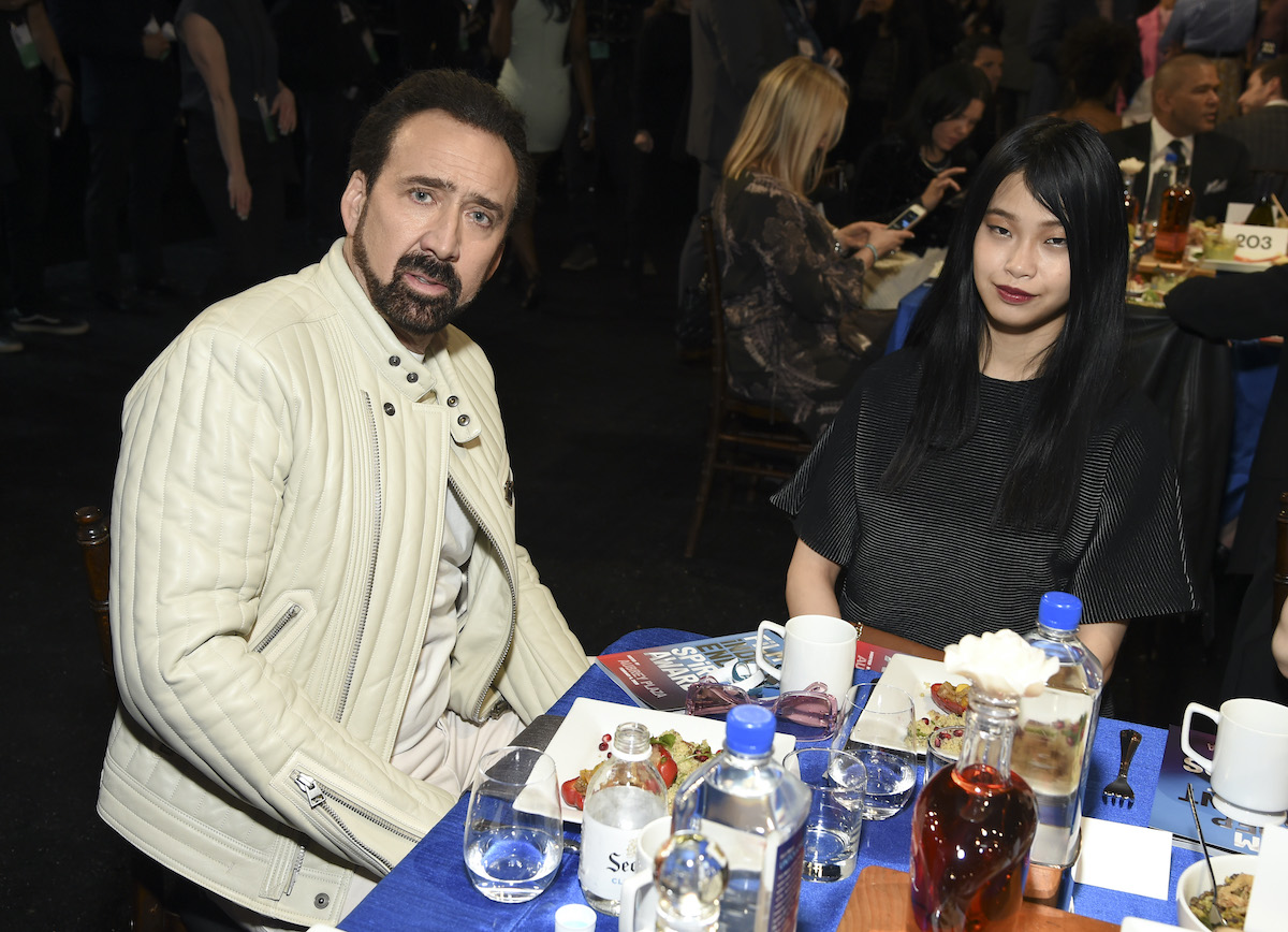 Nicolas Cage and Riko Shibata at the 2020 Film Independent Spirit Awards