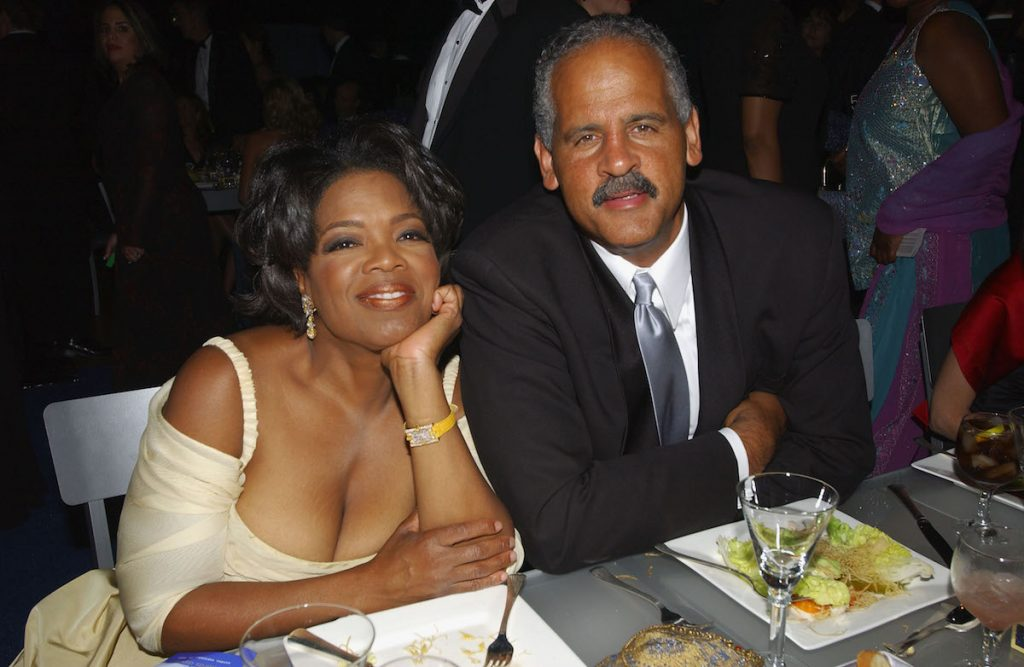 Talk show host Oprah Winfrey and her companion, Steadman Graham, at the Governors Ball, following the 54th Annual Primetime Emmy Awards at the Shrine Auditorium in Los Angeles, California, September 22, 2002. Oprah was presented with the Bob Hope Humanitarian Award.