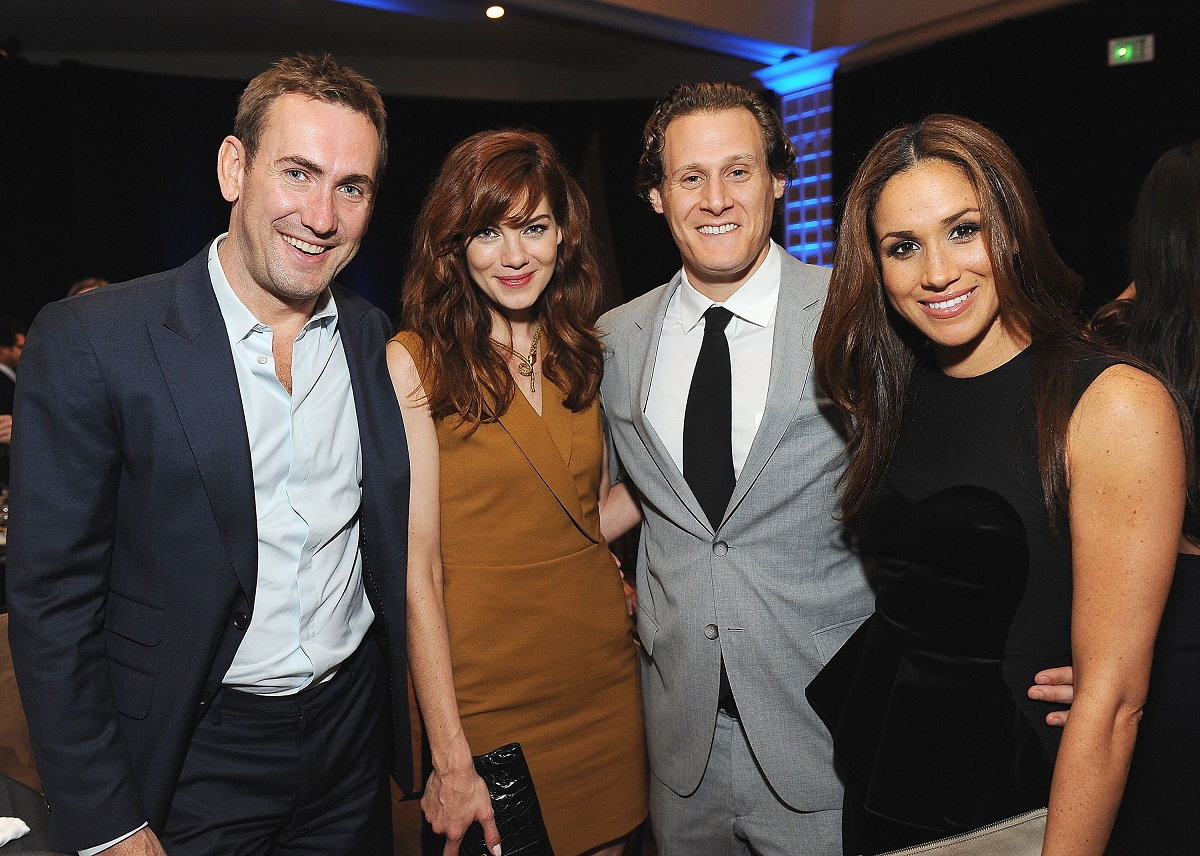 Peter White and wife actress Michelle Monaghan, Trevor Engelson and wife actress Meghan Markle arrive at the Anti-Defamation League Entertainment Industry Awards Dinner honoring Ryan Kavanaugh at The Beverly Hilton hotel on October 11, 2011 in Beverly Hills, California.