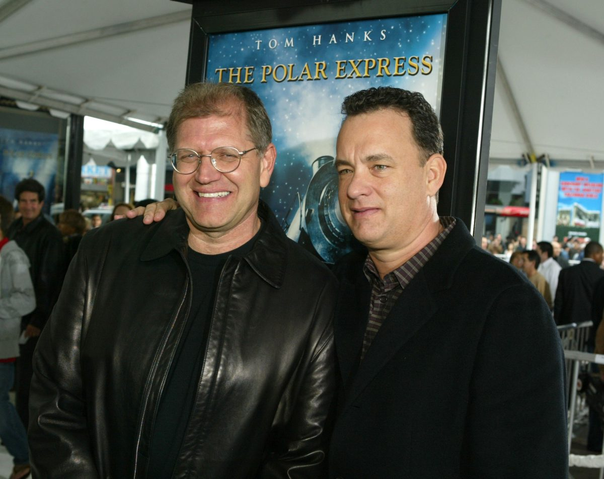 Polar Express director Robert Zemeckis and star Tom Hanks at the premiere