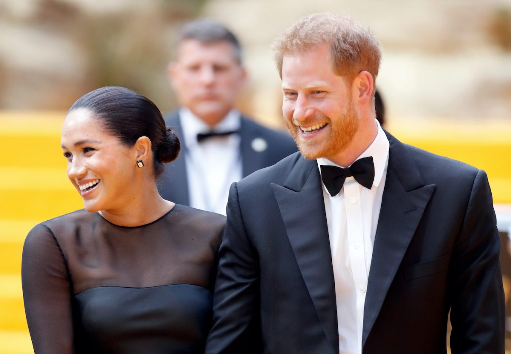 """Prince Harry and Meghan Markle attend """"The Lion King"""" European Premiere in 2019."""