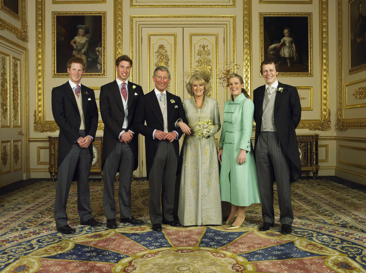 Prince Charles and Camilla Parker Bowles with Prince Harry, Prince William, Laura and Tom Parker Bowles, in the White Drawing Room at Windsor Castle after their wedding ceremony April 9 2005,