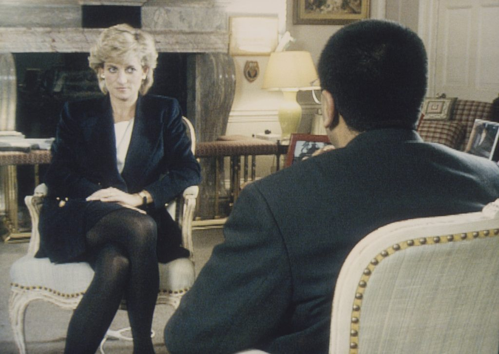 Martin Bashir interviews Princess Diana in Kensington Palace for the television program Panorama