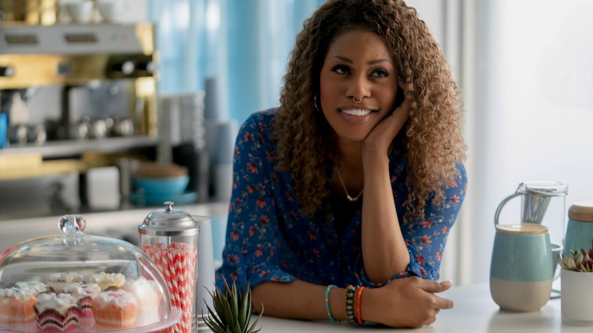 Promising Young Woman star Laverne Cox in the coffee shop
