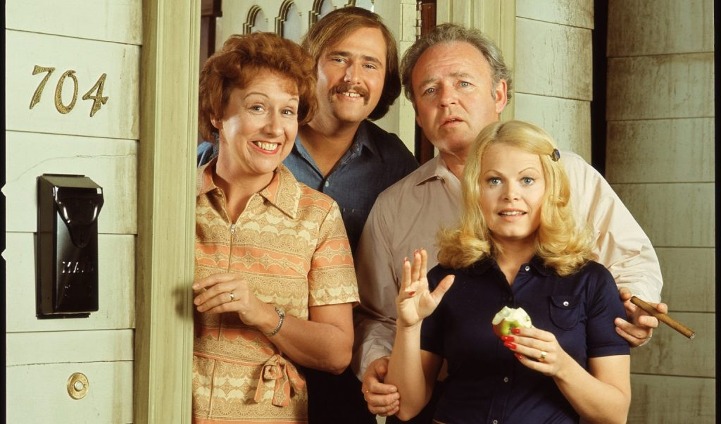 Promotional still shows the cast from the American television show 'All in the Family,'
