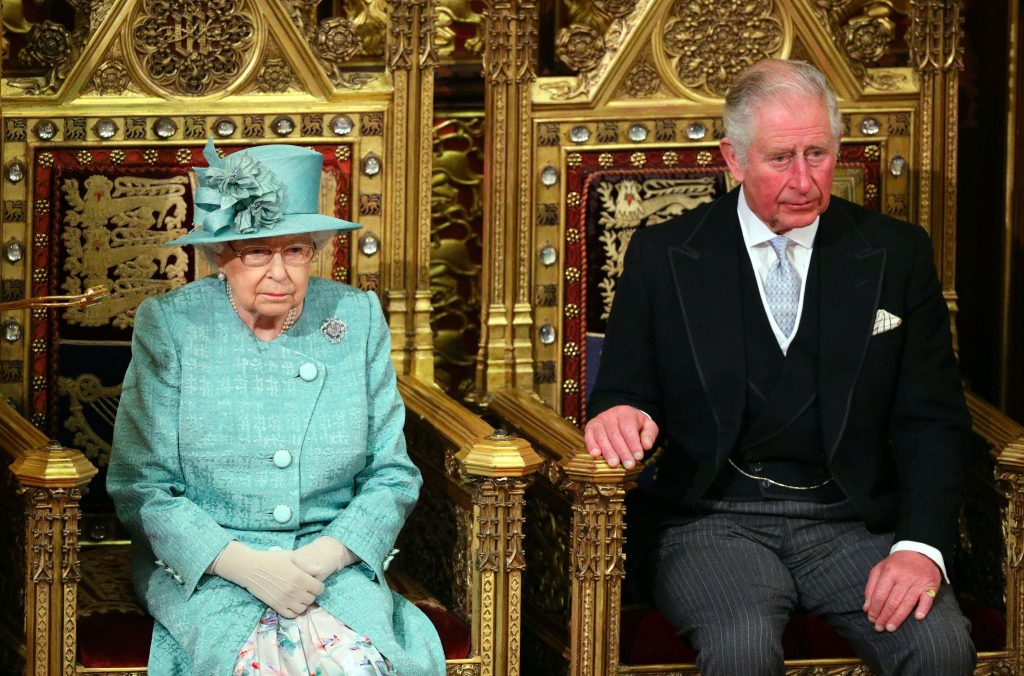 Queen Elizabeth II and Prince Charles seated next to each other for the state opening of parliament in 2019
