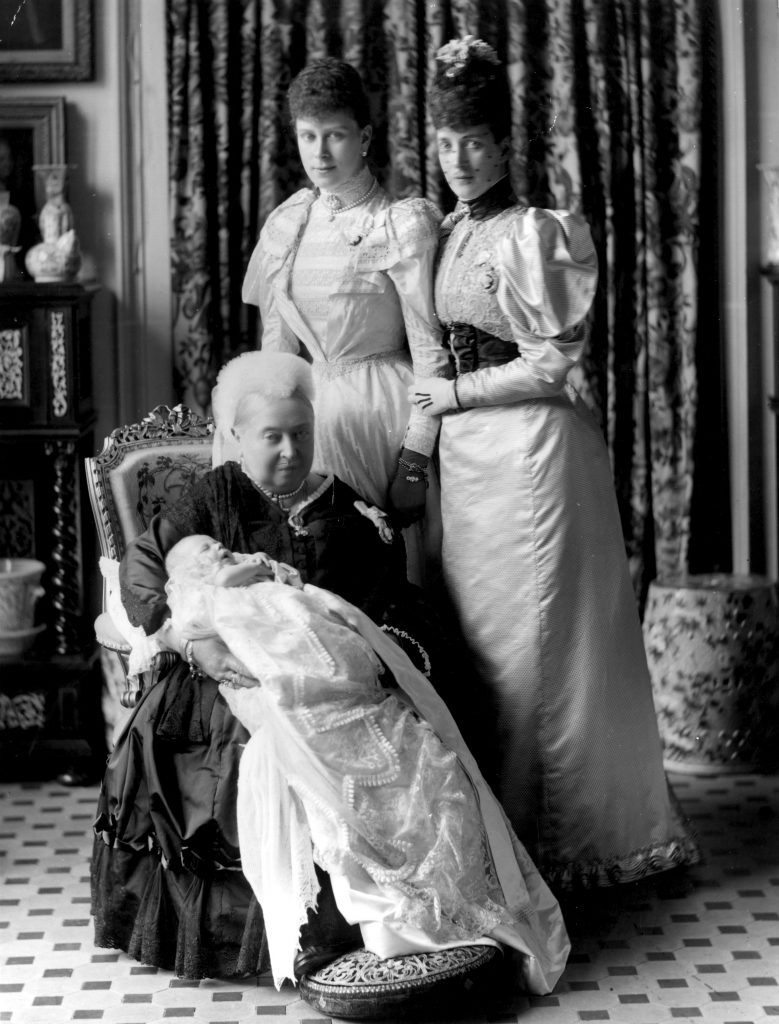 Queen Victoria (1819 - 1901) at the christening of her great-grandson, the future King Edward VIII