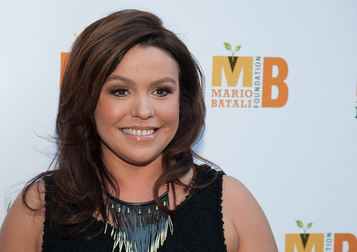 Closeup of headshot of Rachael Ray on the red carpet in 2012