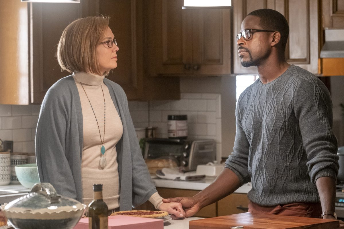 (L-R): Rebecca and Randall (Sterling K Brown) from This Is Us