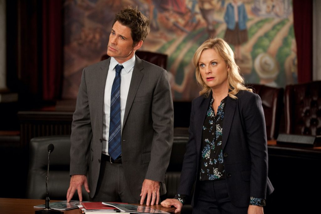 Rob Lowe as Chris Traeger and Amy Poehler as Leslie Knope on 'Parks and Recreation'