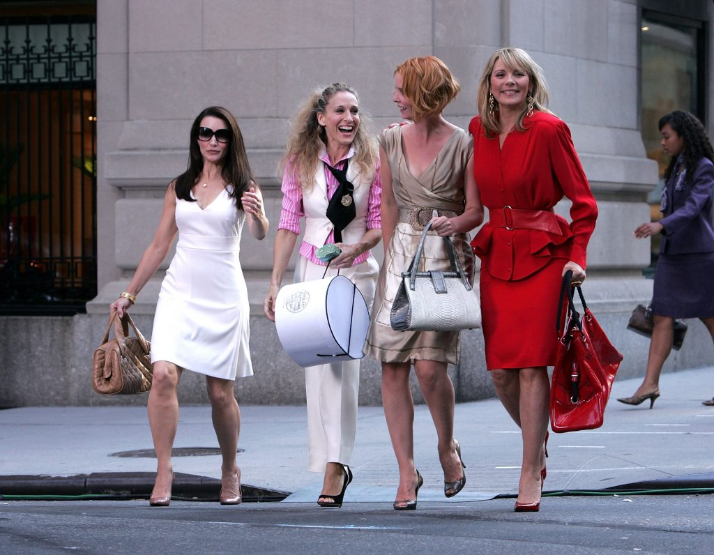 """Kristin Davis, Sarah Jessica Parker, Cynthia Nixon and Kim Cattrall on the set of """"'ex In The City: The Movie' in New York City"""