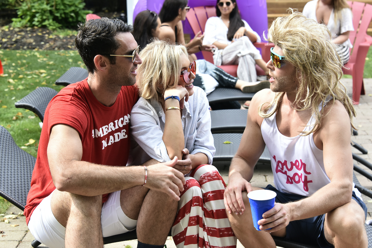 Carl Radke, Lindsay Hubbard, Kyle Cooke during a theme party at the 'Summer House'