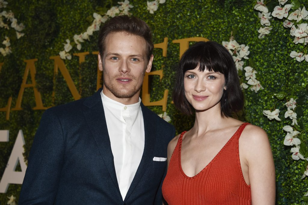 """Actor Sam Heughan (L) and actress Caitriona Balfe arrive at Starz's """"Outlander"""" FYC Special Screening"""