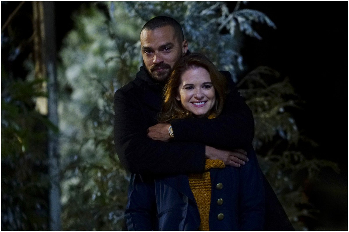 Sarah Drew and Jesse Williams on the set of 'Grey's Anatomy'
