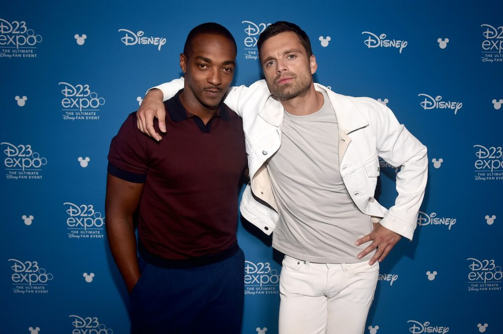 Anthony Mackie and Sebastian Stan pose together at Disney's D23 EXPO 2019