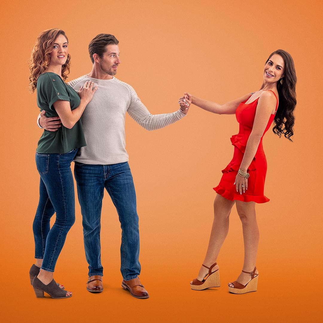 Roberta, Garrick, and Dannielle from Seeking Sister Wife on an orange background