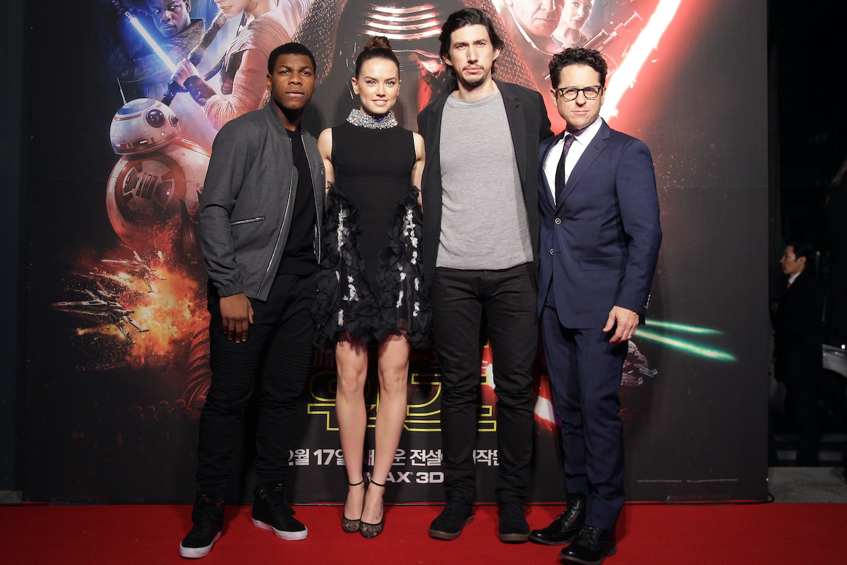 John Boyega, Daisy Ridley, Adam Driver, and director J.J. Abrams at the South Korea premiere of 'Star Wars: The Force Awakens'