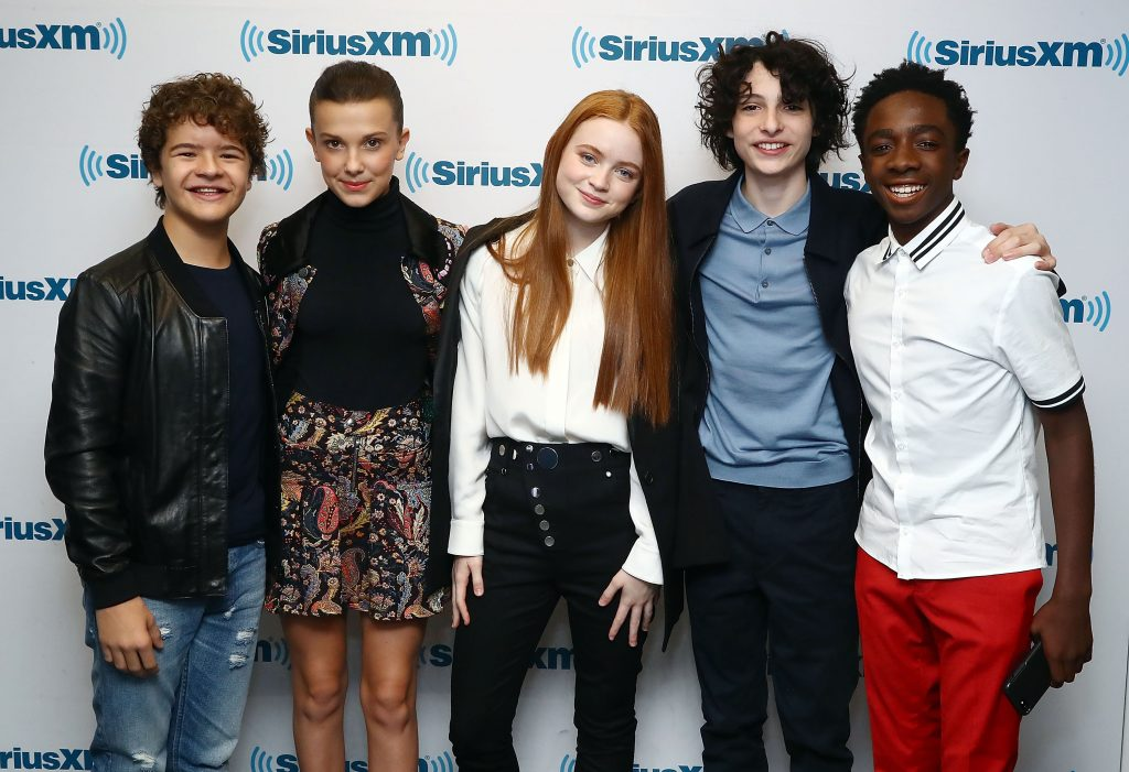 Actors Gaten Matarazzo, Millie Bobby Brown, Sadie Sink, Finn Wolfhard, and Caleb McLaughlin of 'Stranger Things'