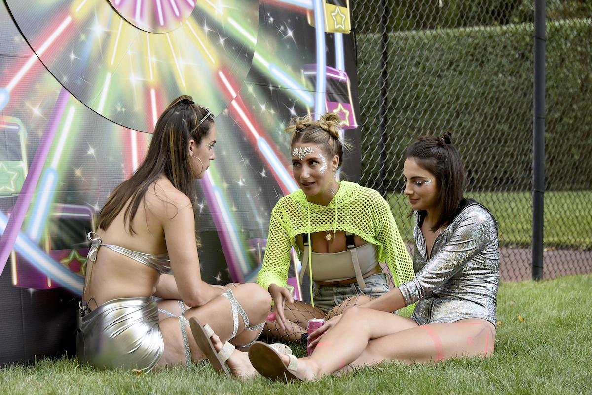 Hannah Berner, Amanda Batula, Paige DeSorbo talk during a 'Summer House' party